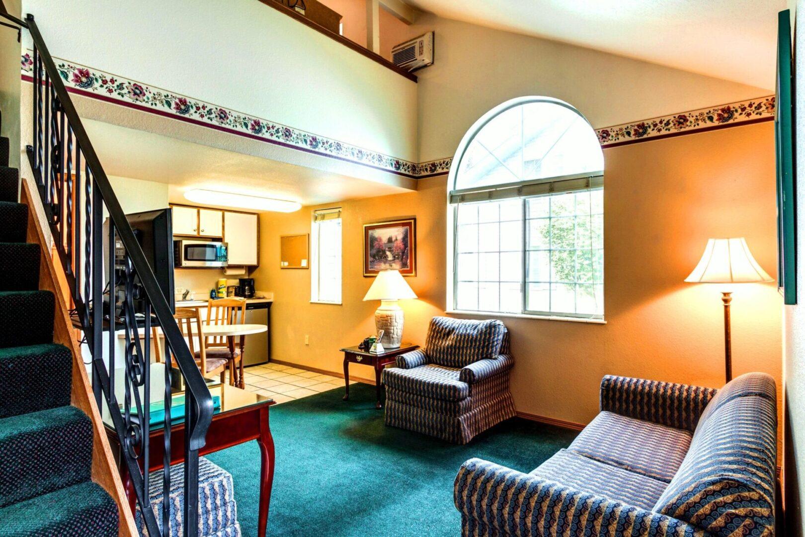 Quiet interior with loft bedroom